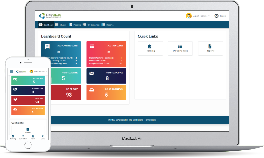 Fineshape ERP - Machine & Employee Productivity Monitoring System